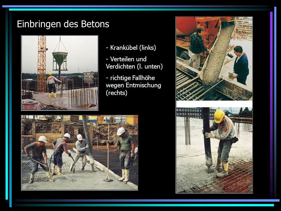 Einbringen des Betons - Krankübel (links) - Verteilen und Verdichten (l. unten) - richtige Fallhöhe wegen Entmischung (rechts)