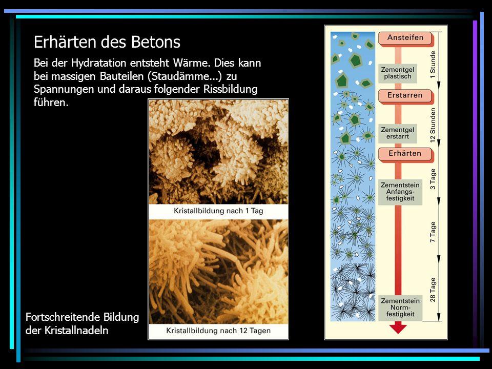 Erhärten des Betons Bei der Hydratation entsteht Wärme. Dies kann bei massigen Bauteilen (Staudämme...) zu Spannungen und daraus folgender Rissbildung