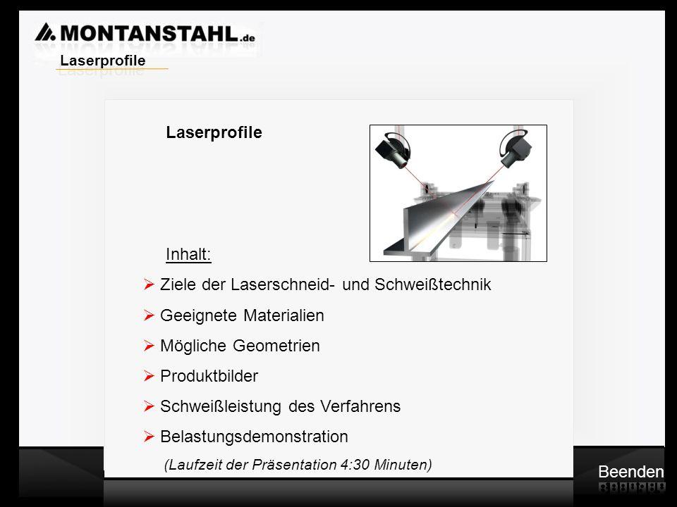 Laser - Profile Mögliche Schnittgeometrien: T-Profil Beenden Laserprofile