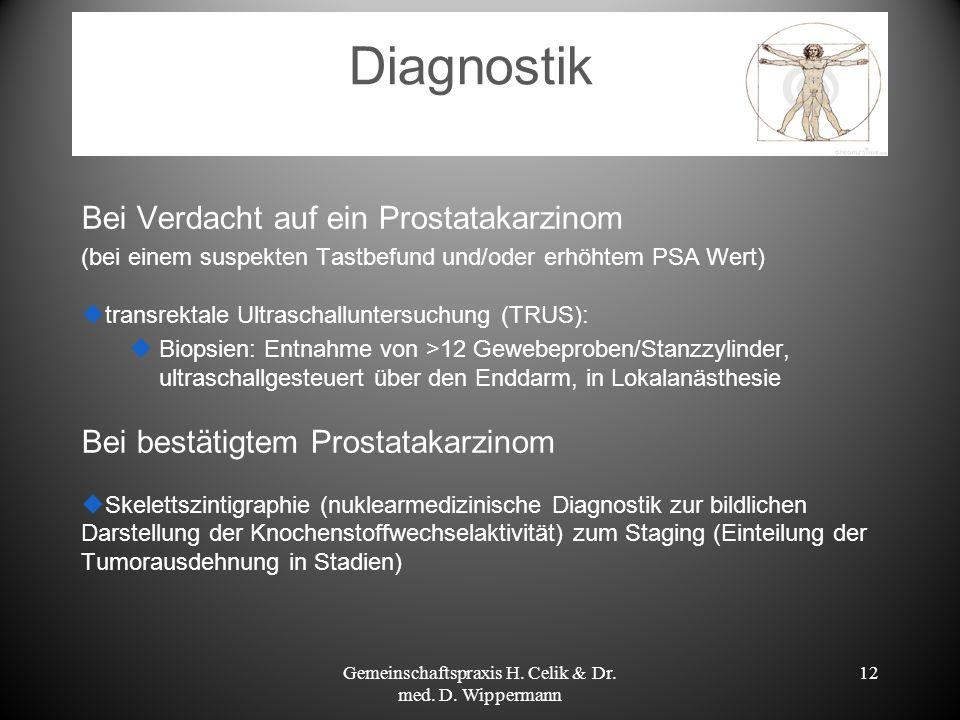 12 Diagnostik Bei Verdacht auf ein Prostatakarzinom (bei einem suspekten Tastbefund und/oder erhöhtem PSA Wert) transrektale Ultraschalluntersuchung (