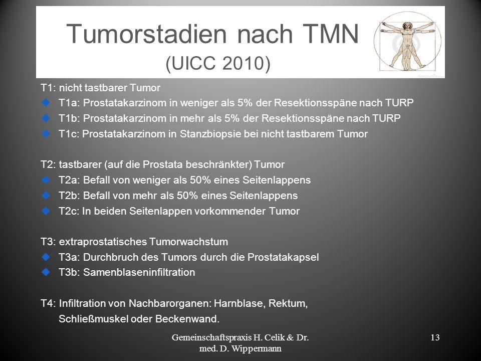 Tumorstadien nach TMN (UICC 2010) T1: nicht tastbarer Tumor T1a: Prostatakarzinom in weniger als 5% der Resektionsspäne nach TURP T1b: Prostatakarzino