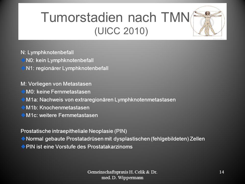 Tumorstadien nach TMN (UICC 2010) N: Lymphknotenbefall N0: kein Lymphknotenbefall N1: regionärer Lymphknotenbefall M: Vorliegen von Metastasen M0: kei