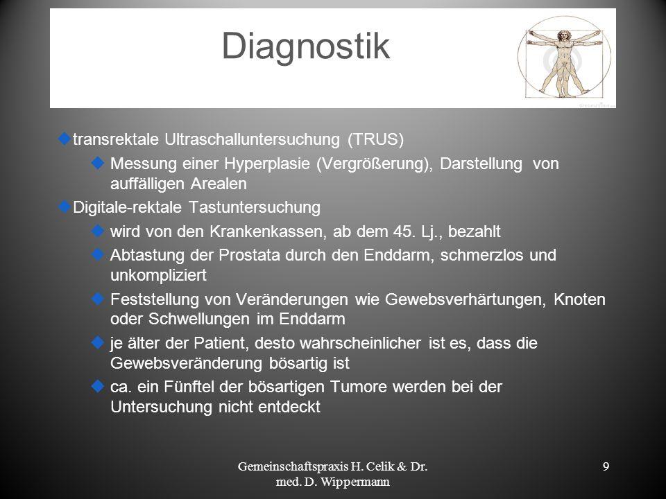 9 Diagnostik transrektale Ultraschalluntersuchung (TRUS) Messung einer Hyperplasie (Vergrößerung), Darstellung von auffälligen Arealen Digitale-rektal