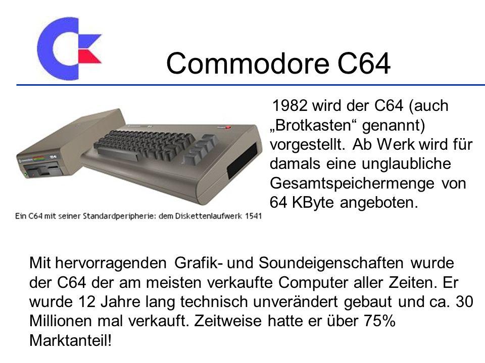 1982 wird der C64 (auch Brotkasten genannt) vorgestellt.