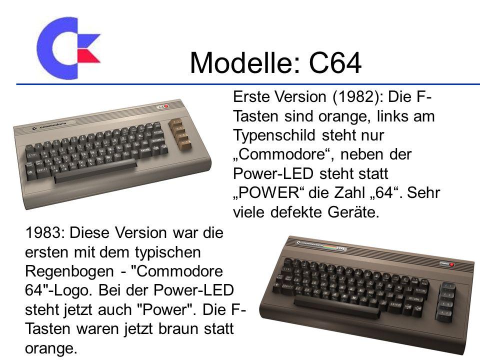 Erste Version (1982): Die F- Tasten sind orange, links am Typenschild steht nur Commodore, neben der Power-LED steht statt POWER die Zahl 64.