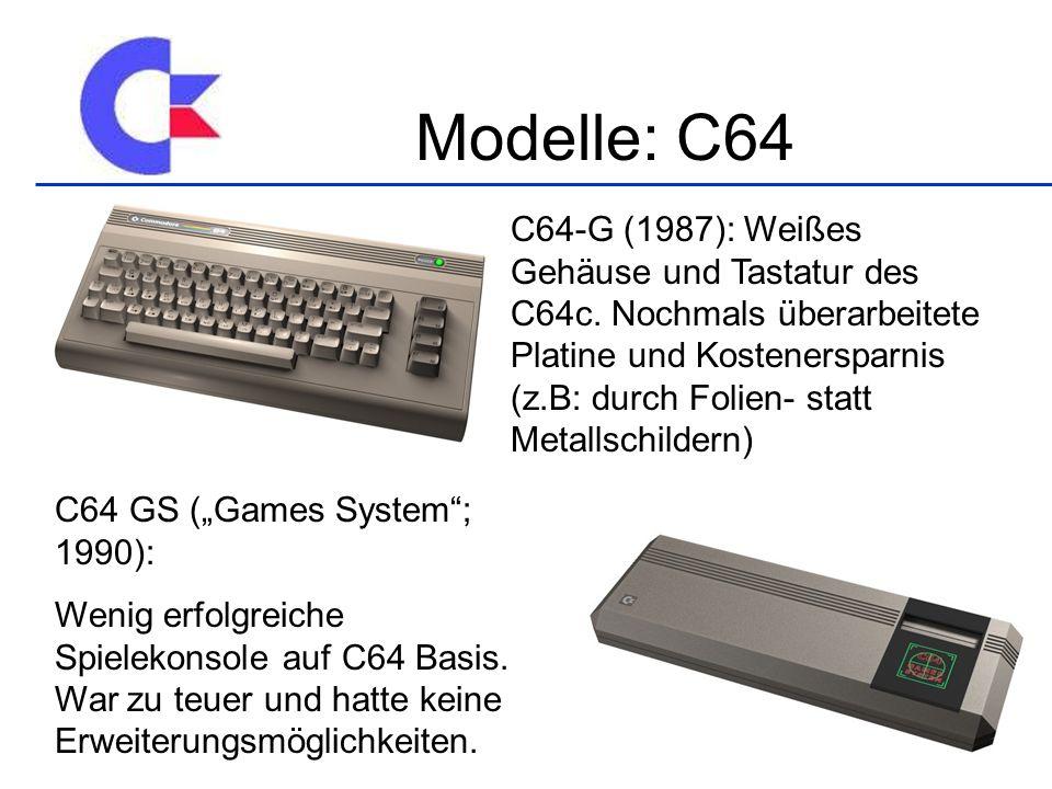 C64-G (1987): Weißes Gehäuse und Tastatur des C64c.