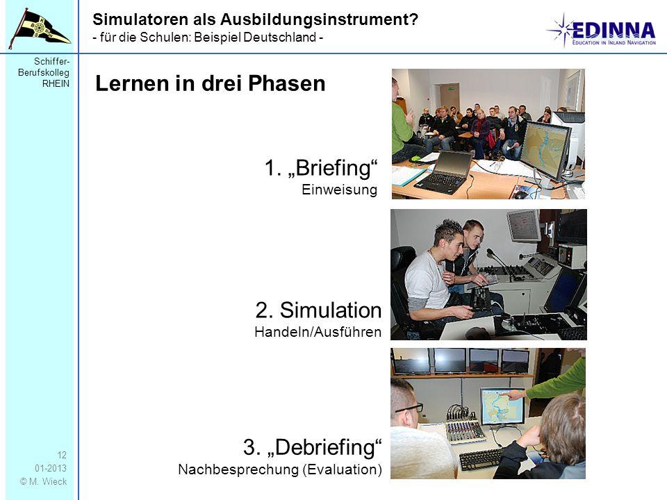 Schiffer- Berufskolleg RHEIN 01-2013 © M. Wieck 12 Simulatoren als Ausbildungsinstrument? - für die Schulen: Beispiel Deutschland - Lernen in drei Pha