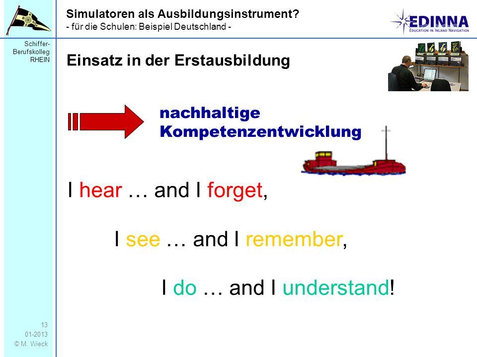 Schiffer- Berufskolleg RHEIN 01-2013 © M. Wieck 13 Simulatoren als Ausbildungsinstrument? - für die Schulen: Beispiel Deutschland - Einsatz in der Ers