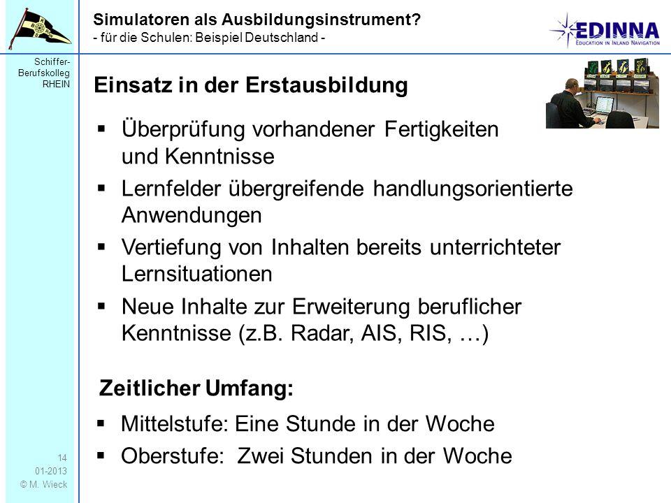 Schiffer- Berufskolleg RHEIN 01-2013 © M. Wieck 14 Simulatoren als Ausbildungsinstrument? - für die Schulen: Beispiel Deutschland - Überprüfung vorhan