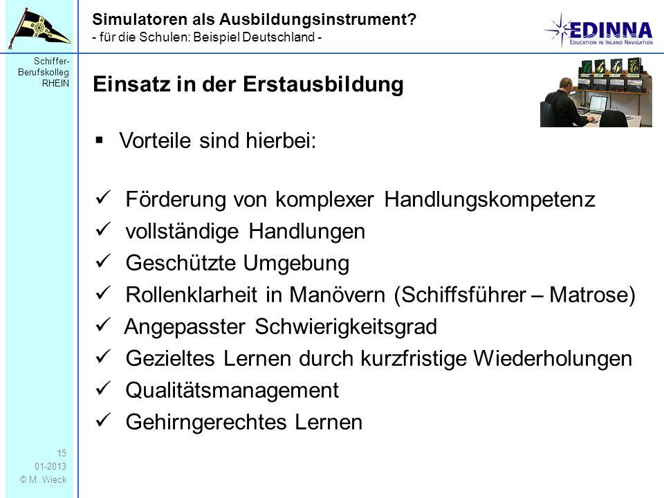 Schiffer- Berufskolleg RHEIN 01-2013 © M. Wieck 15 Simulatoren als Ausbildungsinstrument? - für die Schulen: Beispiel Deutschland - Vorteile sind hier