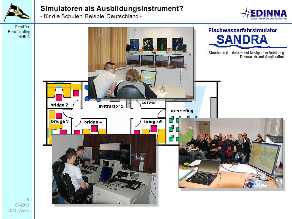 Schiffer- Berufskolleg RHEIN 01-2013 © M. Wieck 8 Simulatoren als Ausbildungsinstrument? - für die Schulen: Beispiel Deutschland -