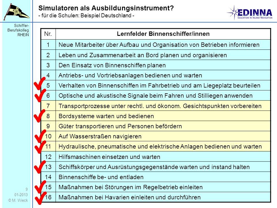 Schiffer- Berufskolleg RHEIN 01-2013 © M. Wieck 9 Simulatoren als Ausbildungsinstrument? - für die Schulen: Beispiel Deutschland - Nr.Lernfelder Binne