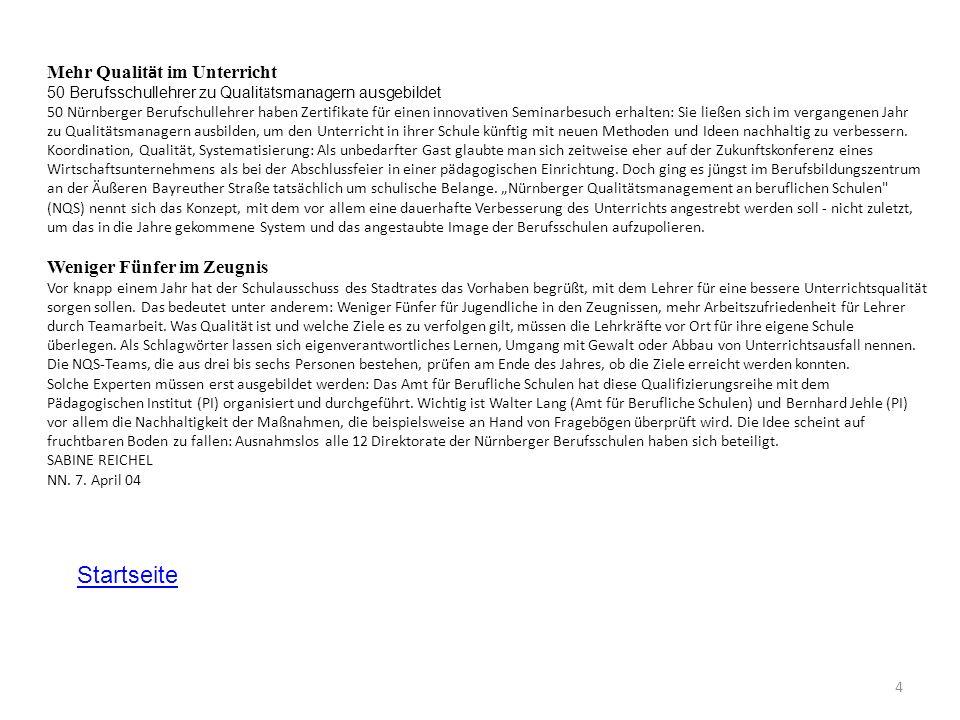 4 Mehr Qualit ä t im Unterricht 50 Berufsschullehrer zu Qualit ä tsmanagern ausgebildet 50 Nürnberger Berufschullehrer haben Zertifikate für einen inn