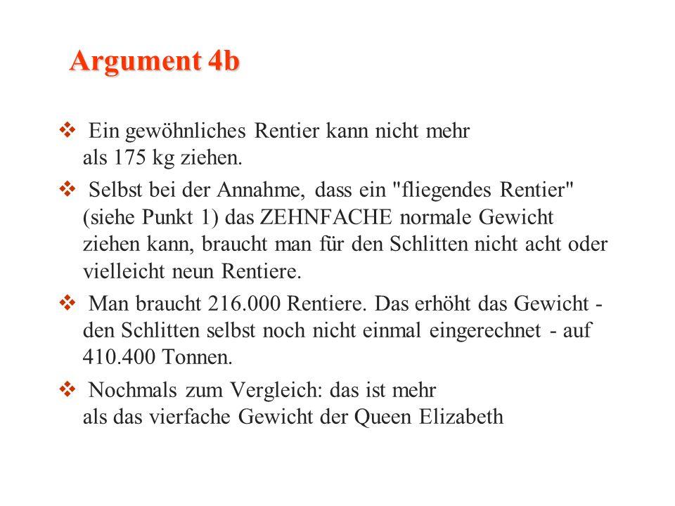 Argument 4b Ein gewöhnliches Rentier kann nicht mehr als 175 kg ziehen.
