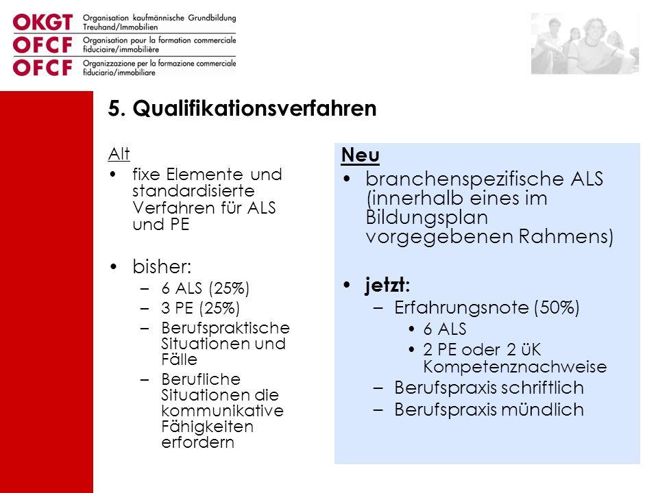 Alt fixe Elemente und standardisierte Verfahren für ALS und PE bisher: –6 ALS (25%) –3 PE (25%) –Berufspraktische Situationen und Fälle –Berufliche Si