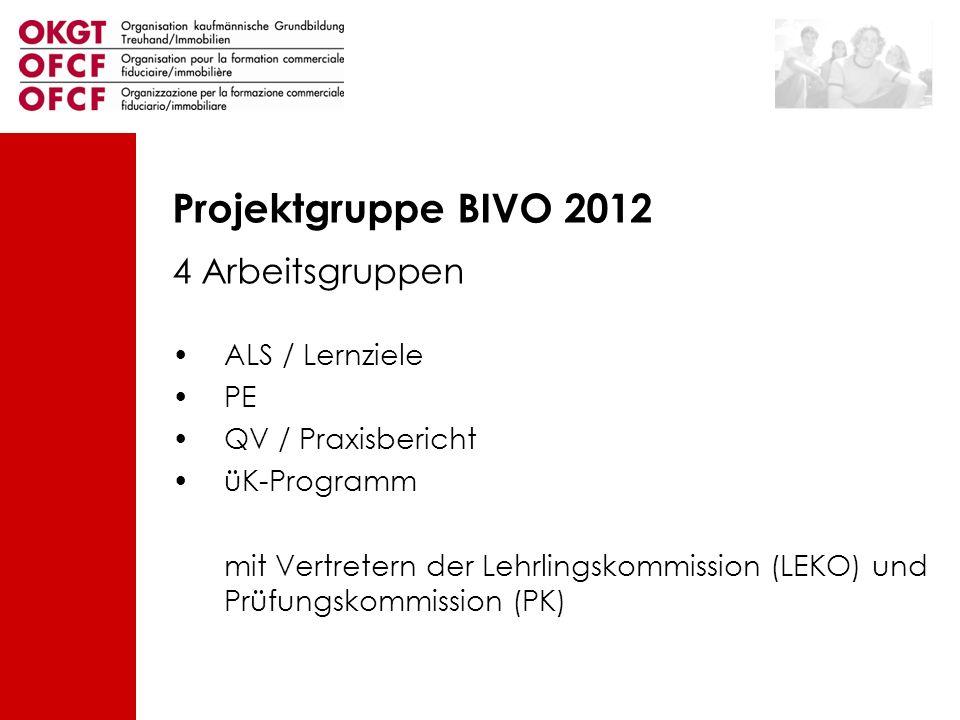 Projektgruppe BIVO 2012 4 Arbeitsgruppen ALS / Lernziele PE QV / Praxisbericht üK-Programm mit Vertretern der Lehrlingskommission (LEKO) und Prüfungsk