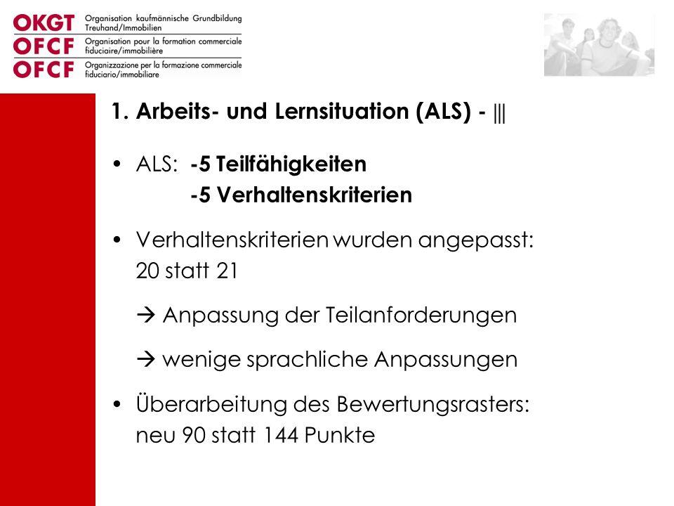 ALS: -5 Teilfähigkeiten -5 Verhaltenskriterien Verhaltenskriterien wurden angepasst: 20 statt 21 Anpassung der Teilanforderungen wenige sprachliche An