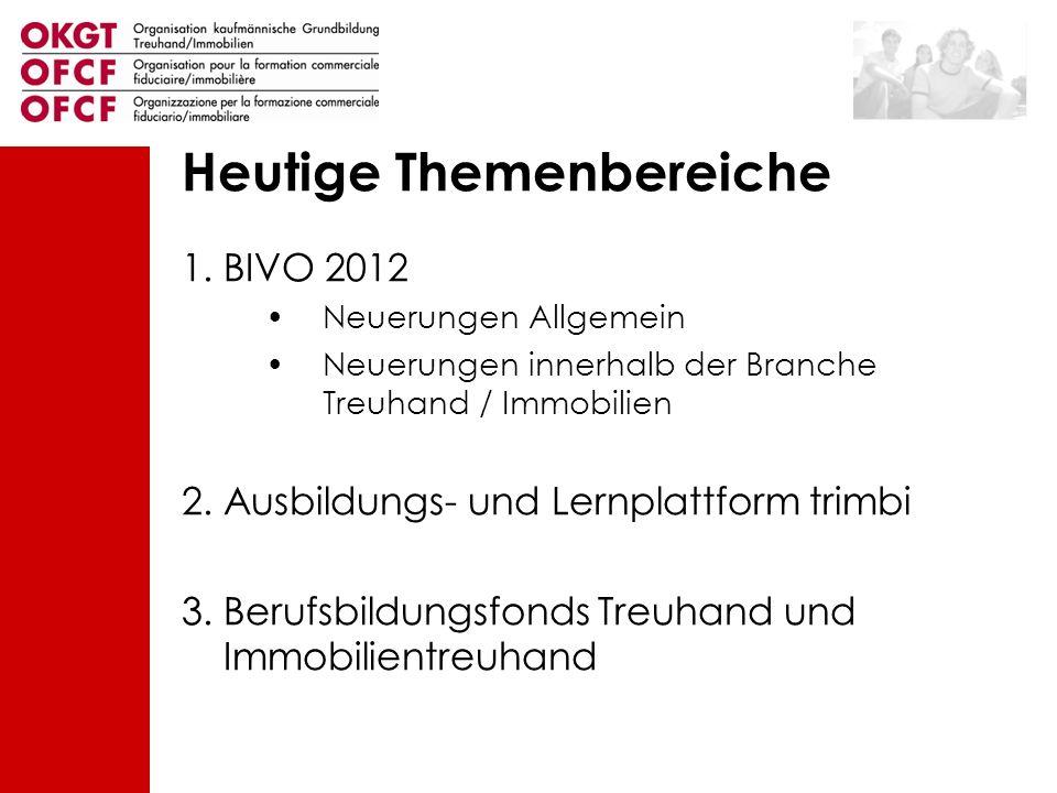 Heutige Themenbereiche 1.BIVO 2012 Neuerungen Allgemein Neuerungen innerhalb der Branche Treuhand / Immobilien 2. Ausbildungs- und Lernplattform trimb