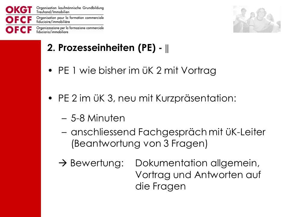 PE 1 wie bisher im üK 2 mit Vortrag PE 2 im üK 3, neu mit Kurzpräsentation: –5-8 Minuten –anschliessend Fachgespräch mit üK-Leiter (Beantwortung von 3
