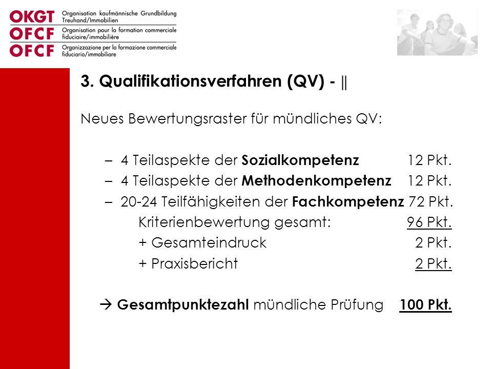 Neues Bewertungsraster für mündliches QV: –4 Teilaspekte der Sozialkompetenz 12 Pkt. –4 Teilaspekte der Methodenkompetenz 12 Pkt. –20-24 Teilfähigkeit