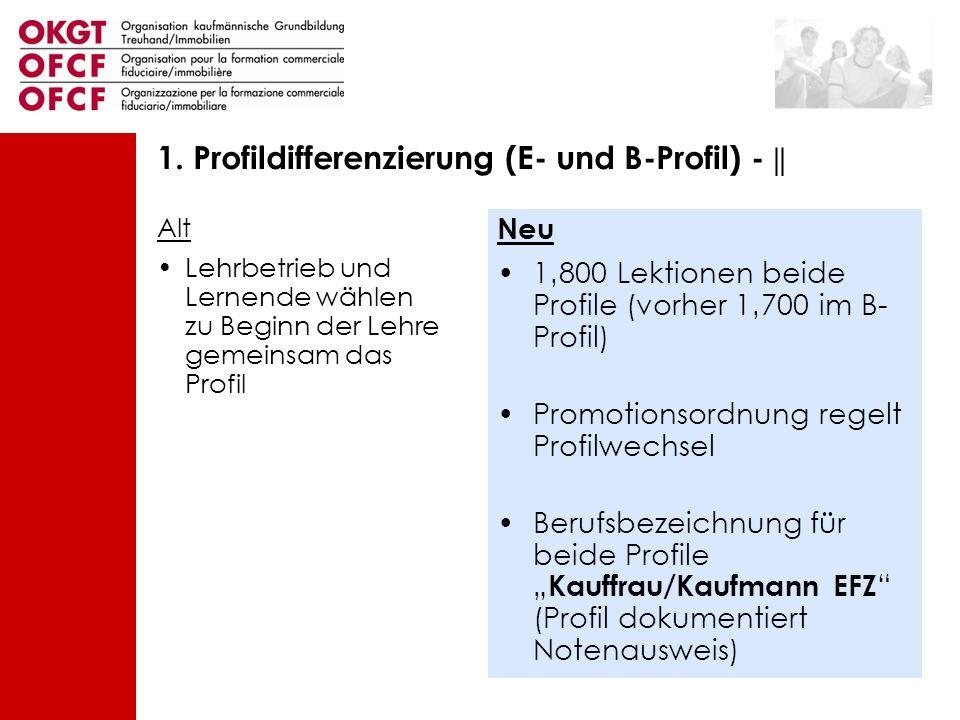 Alt Lehrbetrieb und Lernende wählen zu Beginn der Lehre gemeinsam das Profil Neu 1800 Lektionen beide Profile (vorher 1700 im B- Profil) Promotionsord