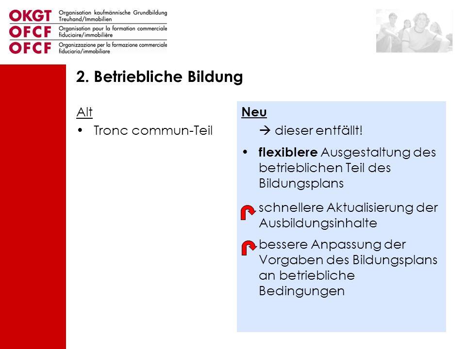 Alt Tronc commun-Teil Neu dieser entfällt! flexiblere Ausgestaltung des betrieblichen Teil des Bildungsplans schnellere Aktualisierung der Ausbildungs