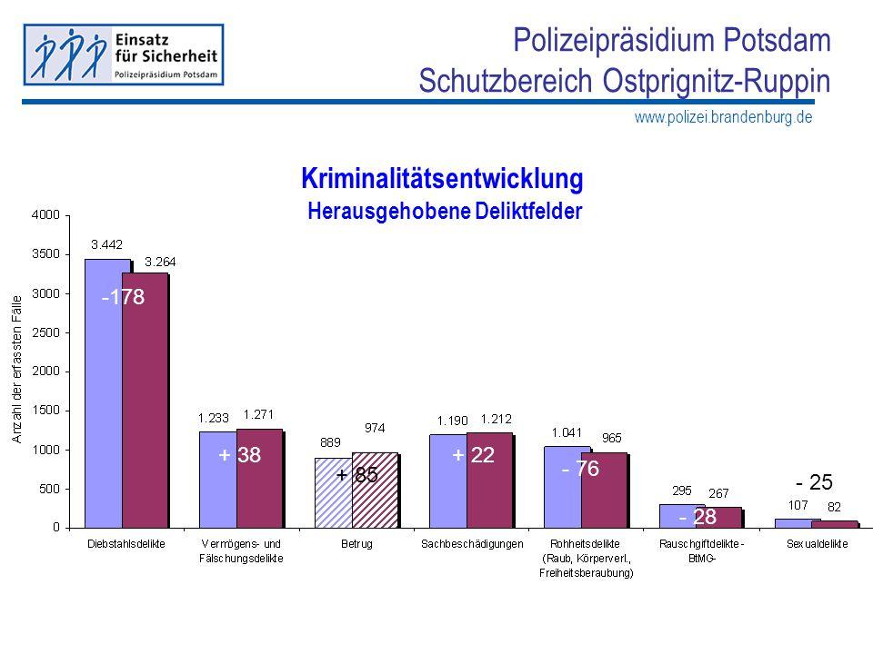 www.polizei.brandenburg.de Polizeipräsidium Potsdam Schutzbereich Ostprignitz-Ruppin Kriminalitätsentwicklung Herausgehobene Deliktfelder -178 + 38+ 2