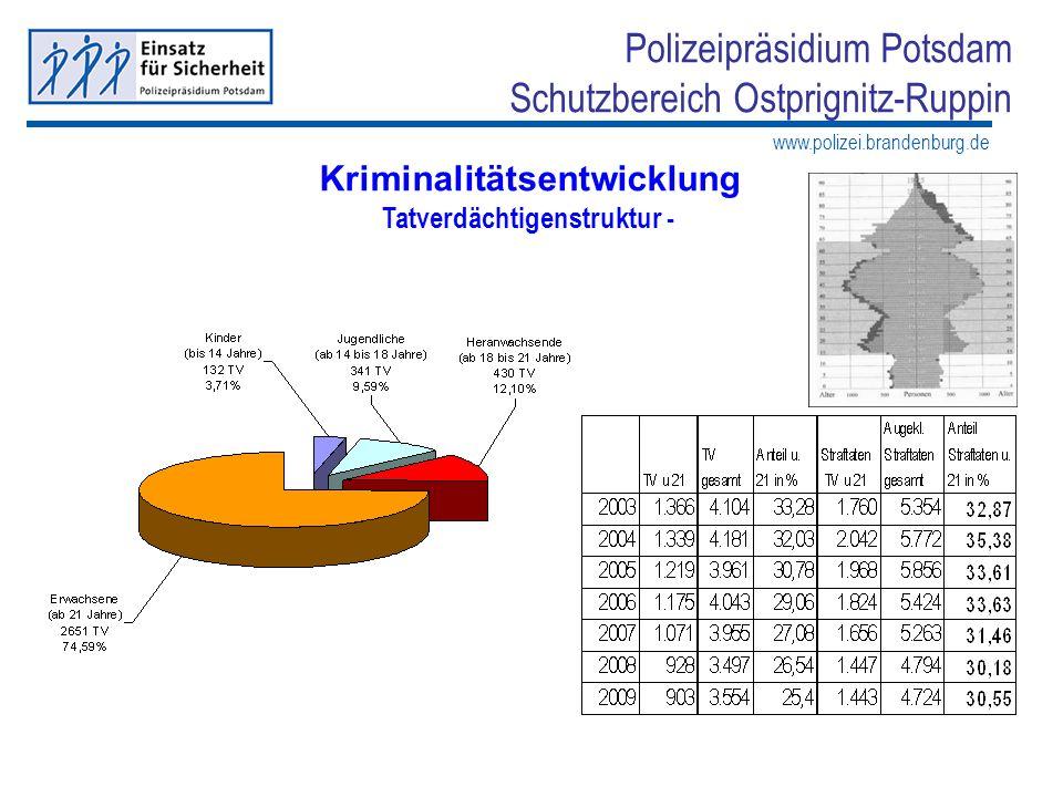 www.polizei.brandenburg.de Polizeipräsidium Potsdam Schutzbereich Ostprignitz-Ruppin Kriminalitätsentwicklung Tatverdächtigenstruktur -
