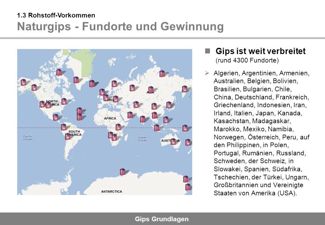 Gips Grundlagen 1.3 Rohstoff-Vorkommen REA-Gips - Entstehung und Gewinnung Gips aus R auchgas -E ntschwefelungs- A nlagen aus der Kohleverbrennung Anwendung in Deutschland seit 1979 (deckt mittlerweile ca.