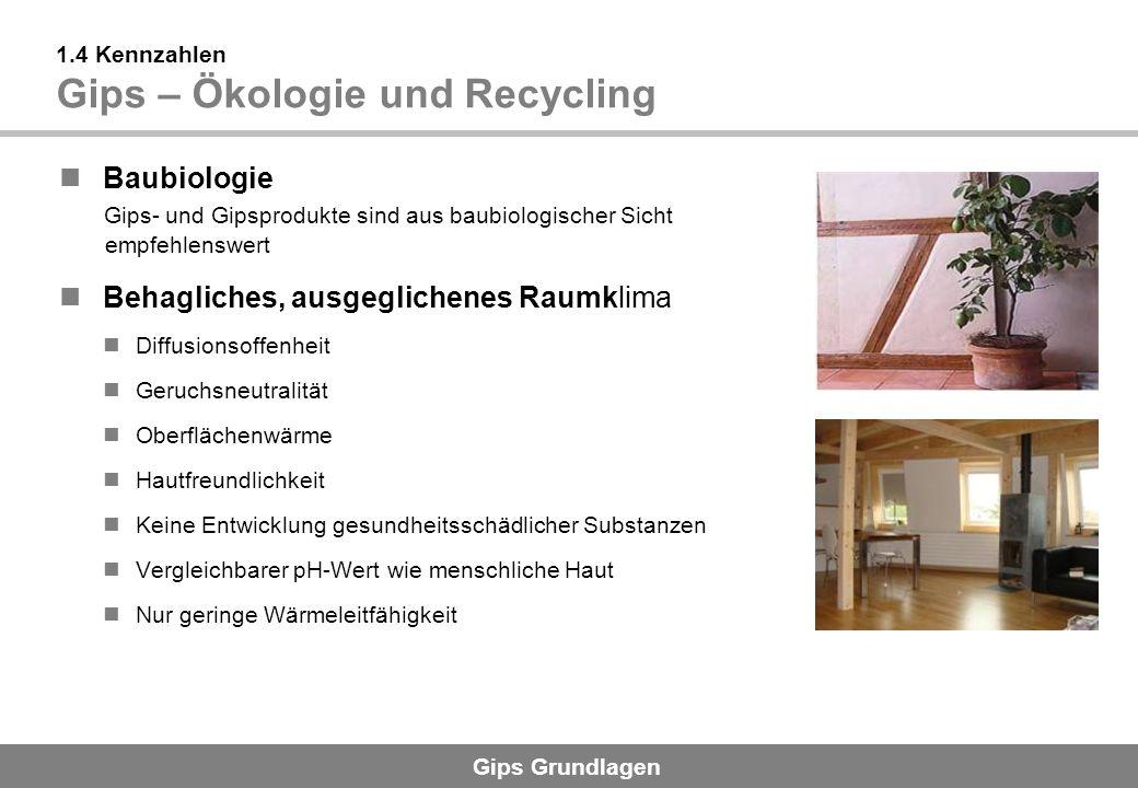 Gips Grundlagen 1.4 Kennzahlen Gips – Ökologie und Recycling Baubiologie Gips- und Gipsprodukte sind aus baubiologischer Sicht empfehlenswert Behaglic