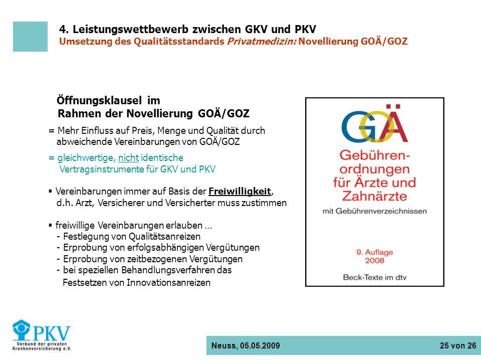 Neuss, 05.05.2009 25 von 26 Öffnungsklausel im Rahmen der Novellierung GOÄ/GOZ = Mehr Einfluss auf Preis, Menge und Qualität durch abweichende Vereinb