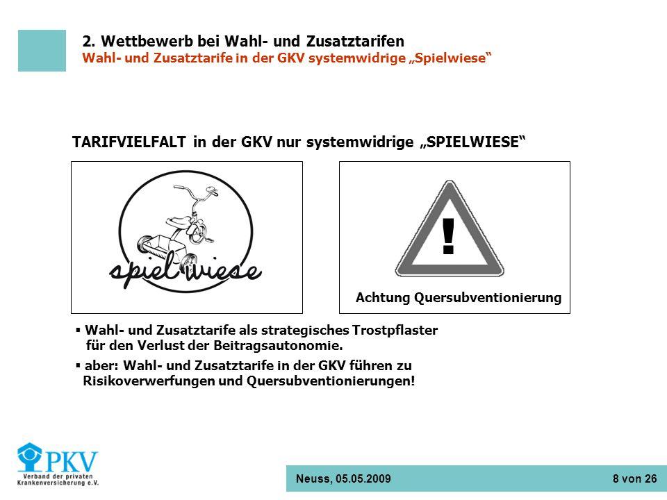 Neuss, 05.05.2009 8 von 26 TARIFVIELFALT in der GKV nur systemwidrige SPIELWIESE Wahl- und Zusatztarife als strategisches Trostpflaster für den Verlus