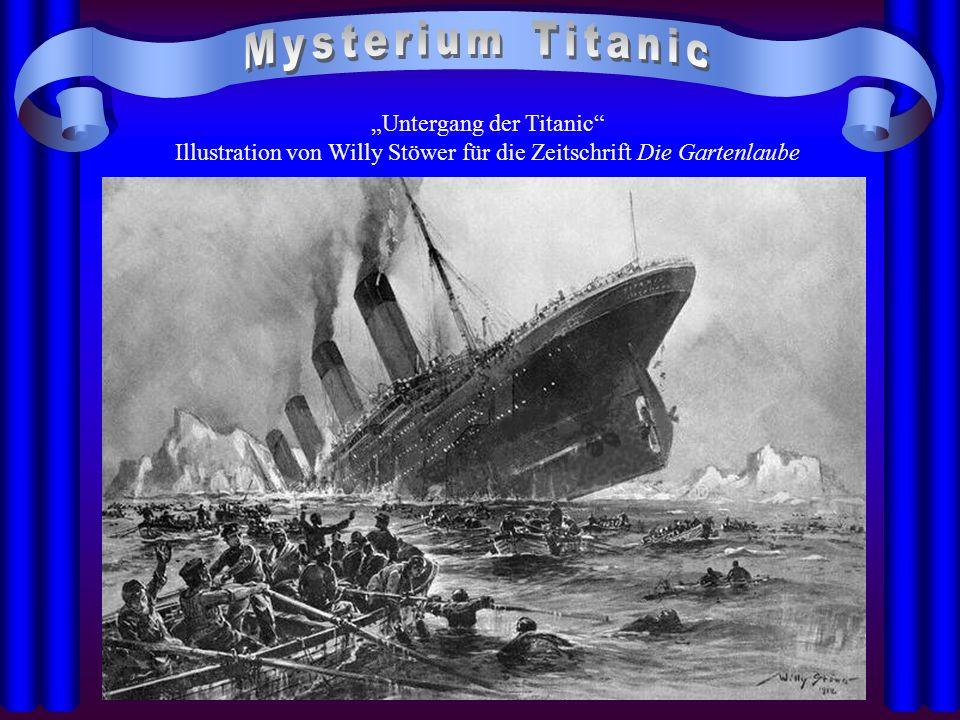 Untergang der Titanic Illustration von Willy Stöwer für die Zeitschrift Die Gartenlaube