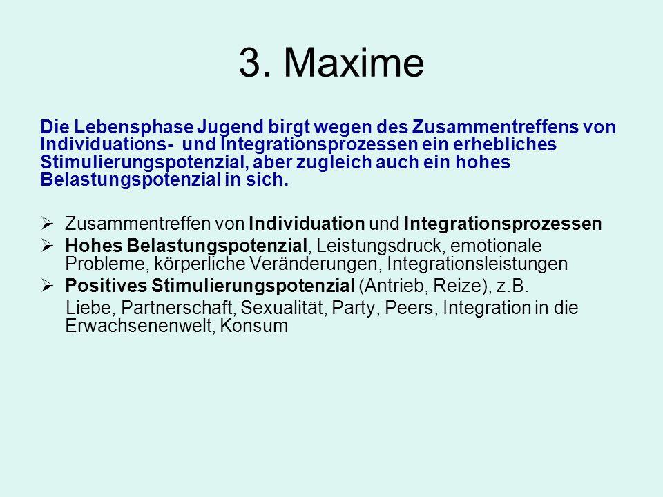 3. Maxime Die Lebensphase Jugend birgt wegen des Zusammentreffens von Individuations- und Integrationsprozessen ein erhebliches Stimulierungspotenzial