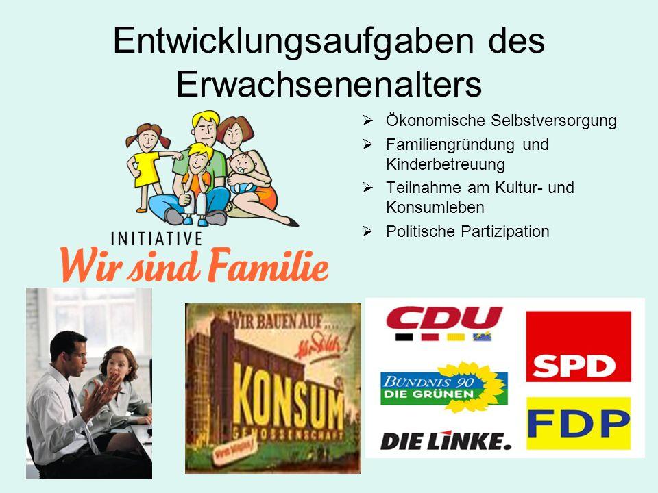 Entwicklungsaufgaben des Erwachsenenalters Ökonomische Selbstversorgung Familiengründung und Kinderbetreuung Teilnahme am Kultur- und Konsumleben Poli