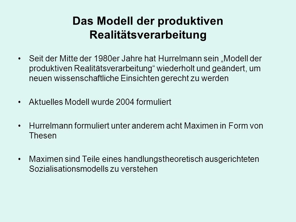 Das Modell der produktiven Realitätsverarbeitung Hurrelmanns Modell der produktiven Realitätsverarbeitung beschreibt die Entstehung von Ich-Identität.