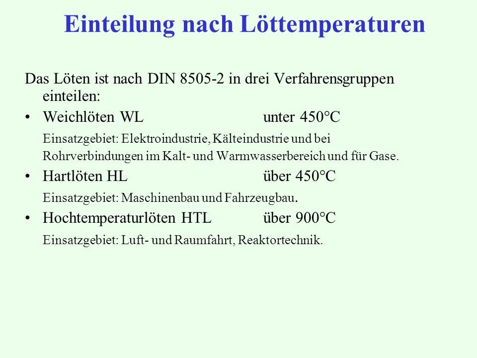 Einteilung nach Löttemperaturen Das Löten ist nach DIN 8505-2 in drei Verfahrensgruppen einteilen: Weichlöten WL unter 450°C Einsatzgebiet: Elektroind