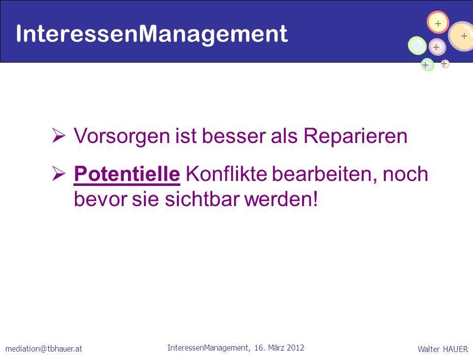 + + + + + Walter HAUER InteressenManagement, 16. März 2012 mediation@tbhauer.at InteressenManagement Vorsorgen ist besser als Reparieren Potentielle K