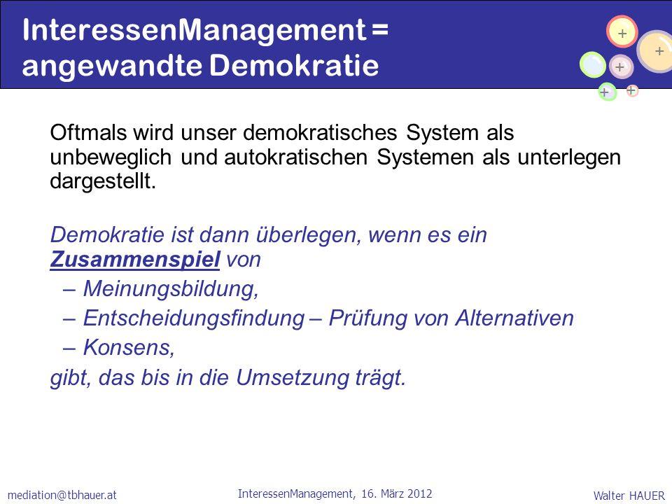 + + + + + Walter HAUER InteressenManagement, 16. März 2012 mediation@tbhauer.at InteressenManagement = angewandte Demokratie Oftmals wird unser demokr
