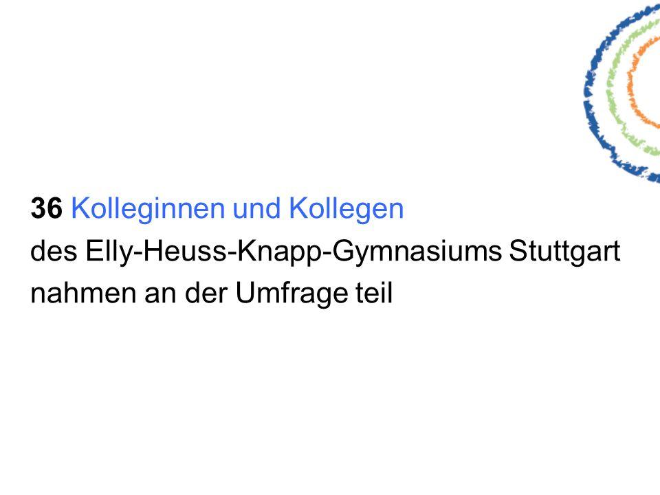 36 Kolleginnen und Kollegen des Elly-Heuss-Knapp-Gymnasiums Stuttgart nahmen an der Umfrage teil