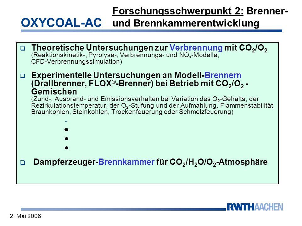OXYCOAL-AC 2. Mai 2006 Forschungsschwerpunkt 2: Brenner- und Brennkammerentwicklung Theoretische Untersuchungen zur Verbrennung mit CO 2 /O 2 (Reaktio