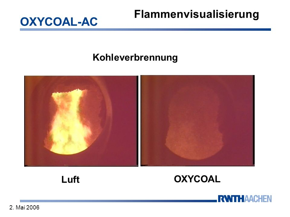 OXYCOAL-AC 2. Mai 2006 Flammenvisualisierung Kohleverbrennung Luft OXYCOAL