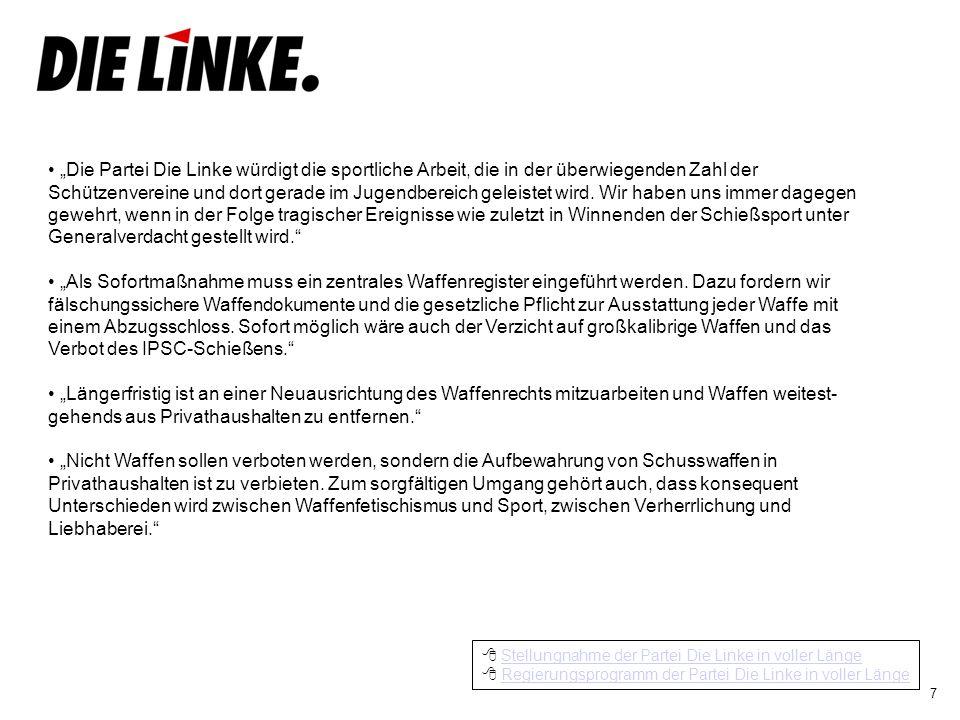 8 CDU und CSU wissen, dass die ganz über- wiegende Mehrheit der Schützen sehr verant- wortungsvoll mit ihren Waffen umgeht.