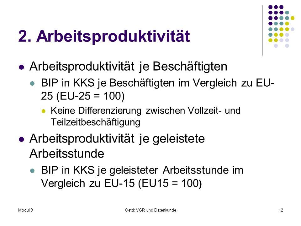 Modul 9Oettl: VGR und Datenkunde12 2. Arbeitsproduktivität Arbeitsproduktivität je Beschäftigten BIP in KKS je Beschäftigten im Vergleich zu EU- 25 (E