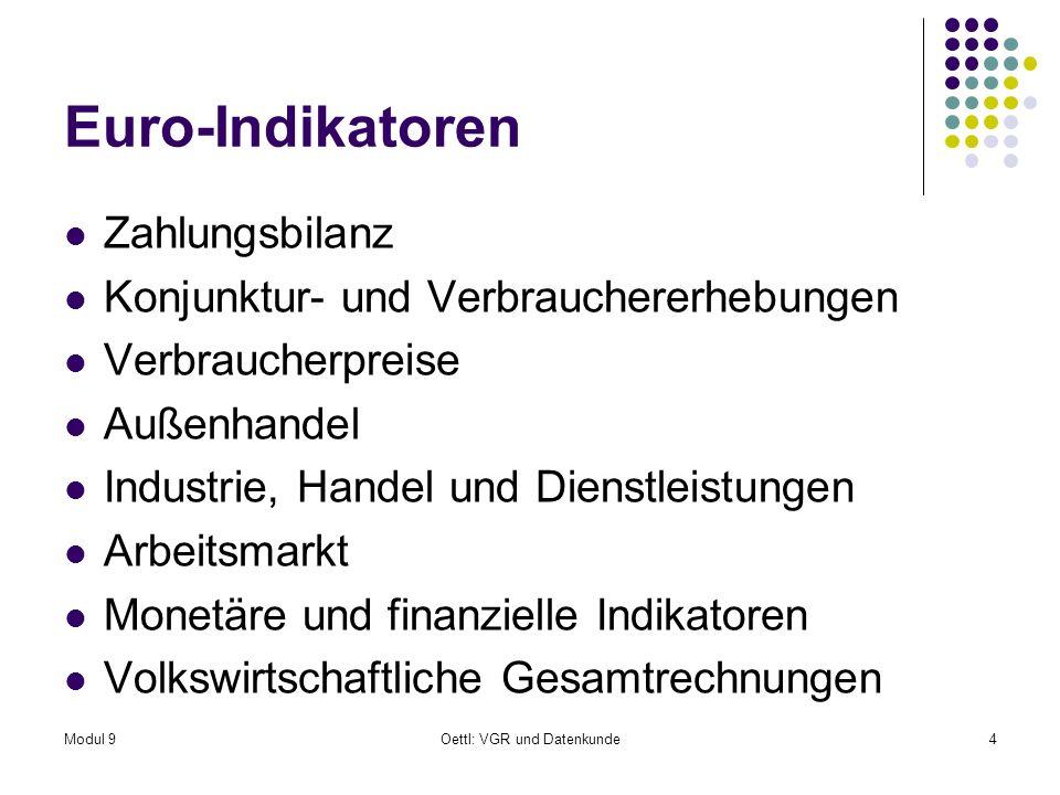 Modul 9Oettl: VGR und Datenkunde4 Euro-Indikatoren Zahlungsbilanz Konjunktur- und Verbrauchererhebungen Verbraucherpreise Außenhandel Industrie, Handel und Dienstleistungen Arbeitsmarkt Monetäre und finanzielle Indikatoren Volkswirtschaftliche Gesamtrechnungen