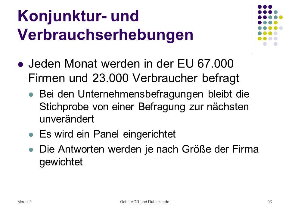 Modul 9Oettl: VGR und Datenkunde53 Konjunktur- und Verbrauchserhebungen Jeden Monat werden in der EU 67.000 Firmen und 23.000 Verbraucher befragt Bei den Unternehmensbefragungen bleibt die Stichprobe von einer Befragung zur nächsten unverändert Es wird ein Panel eingerichtet Die Antworten werden je nach Größe der Firma gewichtet