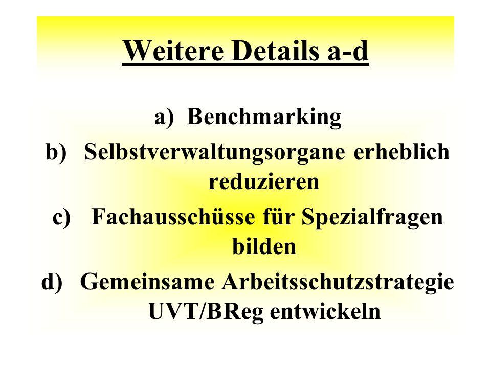 Weitere Details a-d a)Benchmarking b) Selbstverwaltungsorgane erheblich reduzieren c) Fachausschüsse für Spezialfragen bilden d) Gemeinsame Arbeitsschutzstrategie UVT/BReg entwickeln