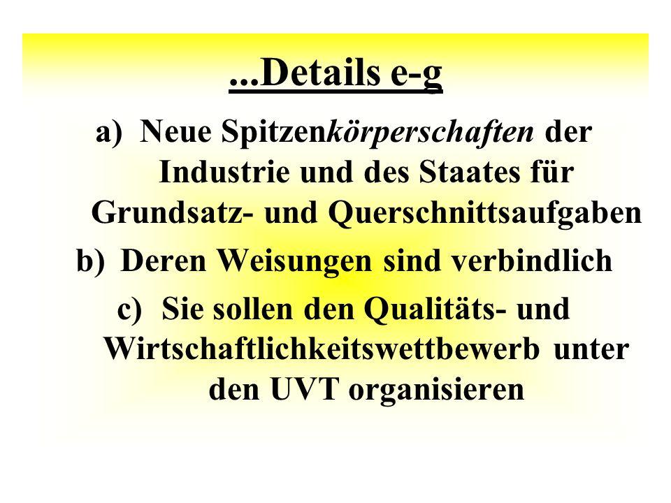 ...Details e-g a)Neue Spitzenkörperschaften der Industrie und des Staates für Grundsatz- und Querschnittsaufgaben b)Deren Weisungen sind verbindlich c)Sie sollen den Qualitäts- und Wirtschaftlichkeitswettbewerb unter den UVT organisieren
