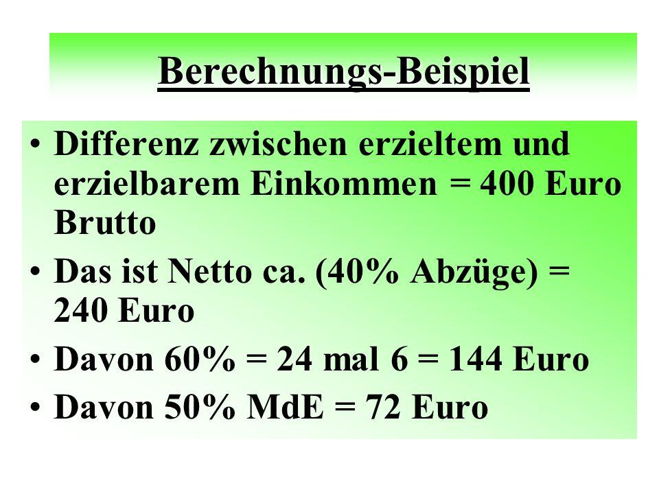 Berechnungs-Beispiel Differenz zwischen erzieltem und erzielbarem Einkommen = 400 Euro Brutto Das ist Netto ca.