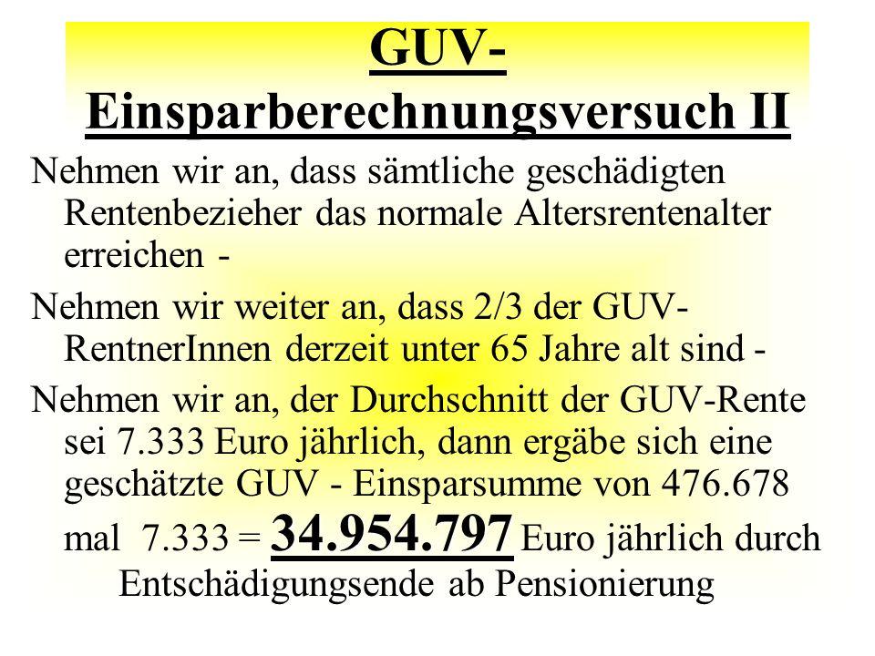 GUV- Einsparberechnungsversuch II Nehmen wir an, dass sämtliche geschädigten Rentenbezieher das normale Altersrentenalter erreichen - Nehmen wir weiter an, dass 2/3 der GUV- RentnerInnen derzeit unter 65 Jahre alt sind - 34.954.797 Nehmen wir an, der Durchschnitt der GUV-Rente sei 7.333 Euro jährlich, dann ergäbe sich eine geschätzte GUV - Einsparsumme von 476.678 mal 7.333 = 34.954.797 Euro jährlich durch Entschädigungsende ab Pensionierung
